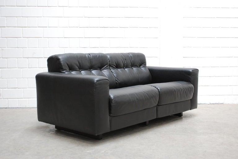 De Sede DS 40 2-Seat Sofa Black Leather Sofa, 1970