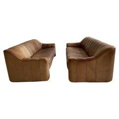 De Sede DS-44 Pair Sofa's in Patinated Cognac Buffalo Leather, Switzerland, 1970