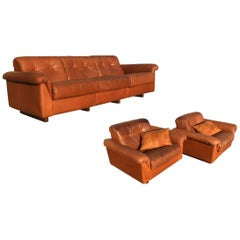 De Sede DS-45 Patchwork Patinated Cognac Leather Living Room Set, Swiss, 1970s
