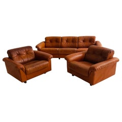De Sede DS-45 Patinated Cognac Leather Living Room Suite Sofa, Swiss, 1970s