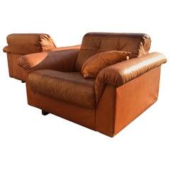 De Sede DS-45 Vintage Patinated Cognac Leather Club Chairs Pair, Swiss, 1970s