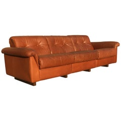 De Sede DS-45 Vintage Patinated Cognac Leather Three-Seat Sofa, Swiss, 1970s