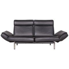 De Sede Ds 450 Designer Sofa Black Leather Three-Seat Couch Made in Switzerland