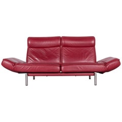 De Sede DS 450 Designer Sofa Red Leather Three-Seat Couch Made in Switzerland