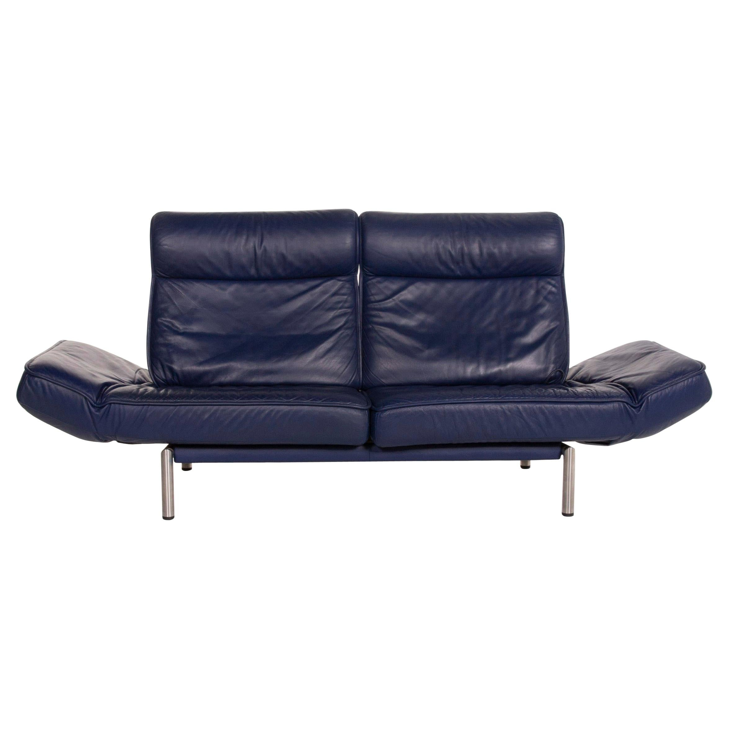 De Sede Ds 450 Leather Sofa Blue Two-Seat Function