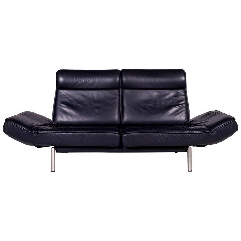De Sede Ds 450 Leather Sofa Dark Blue Two-Seat Relax Function Couch