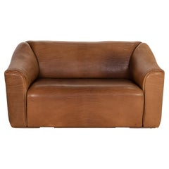De Sede DS 47 Leather Sofa Brown Two-Seater Function Vintage Couch