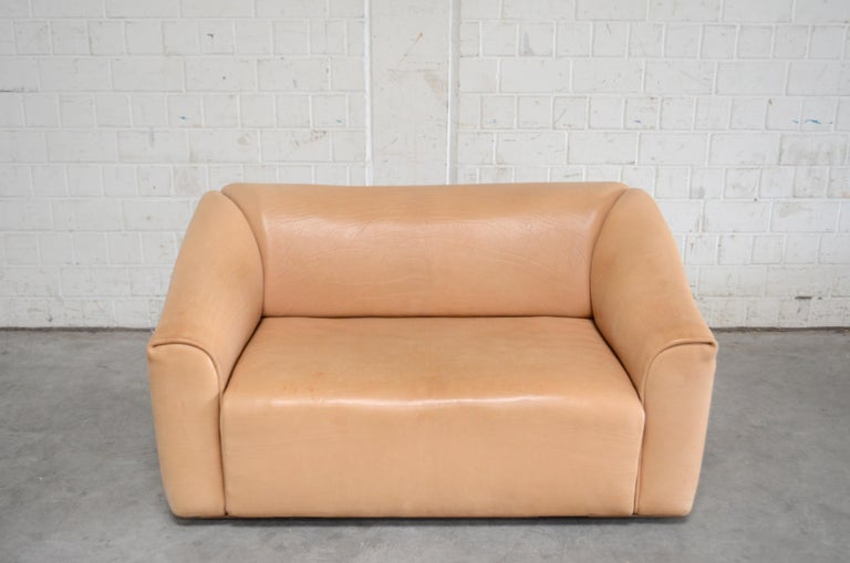 De Sede DS 47 / 02 neck leather sofa. It´s the small loveseat Sofa. This DS-47 sofa was manufactured in Switzerland by De Sede and is upholstered in 3-5 mm thick, natural hide. The leather color is beautiful with name cocos. The seat is