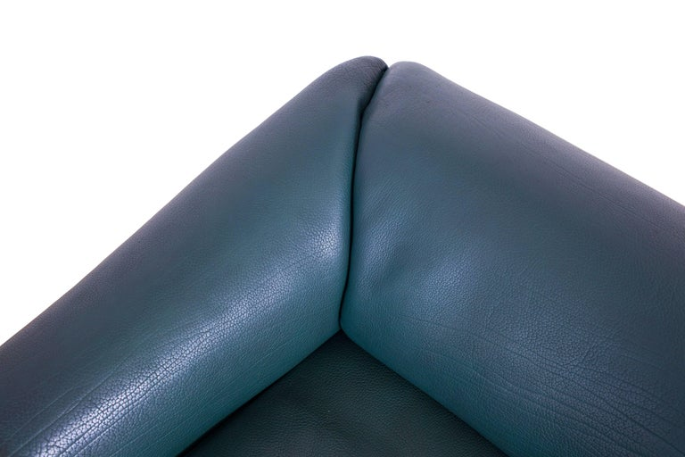 De Sede DS 47 Sofa in Petrol Green Leather For Sale 4