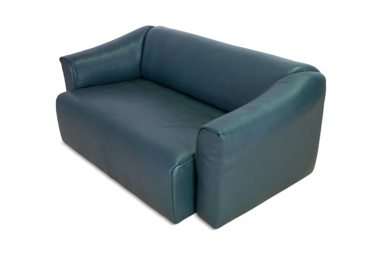 De Sede DS 47 Sofa in Petrol Green Leather For Sale 2