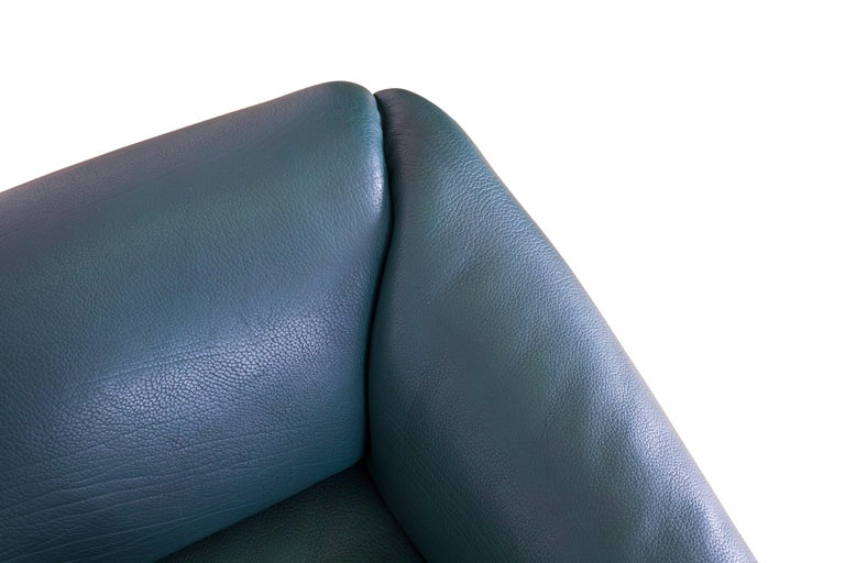 De Sede DS 47 Sofa in Petrol Green Leather For Sale 3