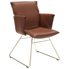 De Sede DS 515 Chair in Brown Upholstery and Gold Color Base, Greutmann Bolzern
