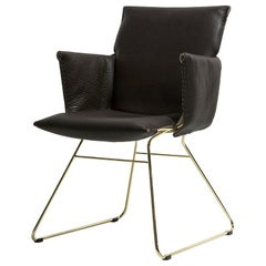 De Sede DS 515 Chair with Armrest in Black Upholstery by Greutmann Bolzern