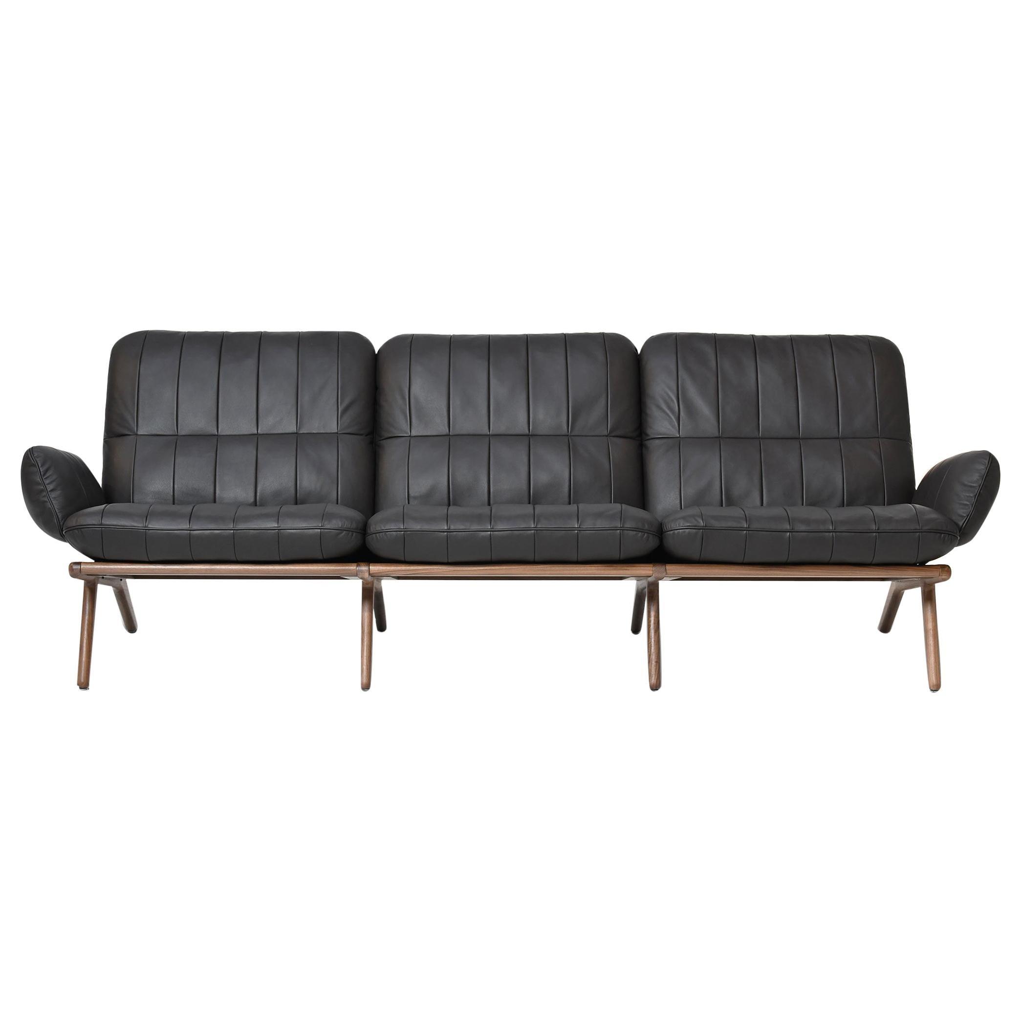 De Sede DS 531 Three-Seat Sofa in Black Upholstery by De Sede Design-Team