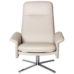 De Sede DS 55 High Back Chair in White Leather Upholstery by De Sede Design Team