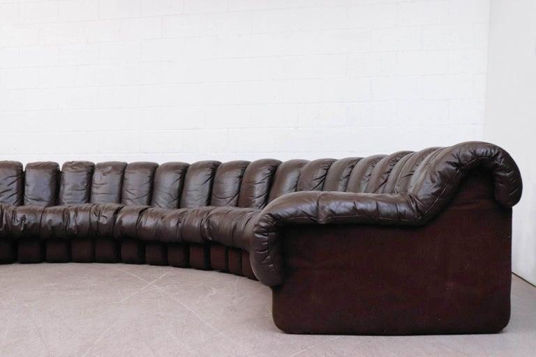 Leather De Sede 'DS 600' Non-Stop 26 Section Sofa by De Sede