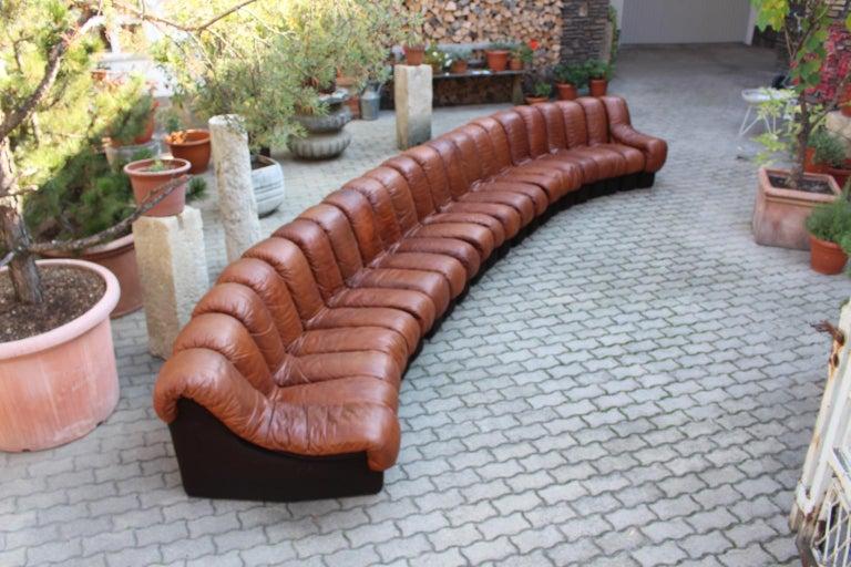 De Sede DS-600 Non Stop Sofa Switzerland 1970s in Cognac Leather For Sale 4