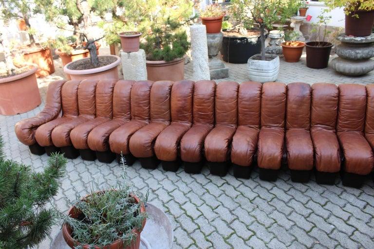De Sede DS-600 Non Stop Sofa Switzerland 1970s in Cognac Leather For Sale 5