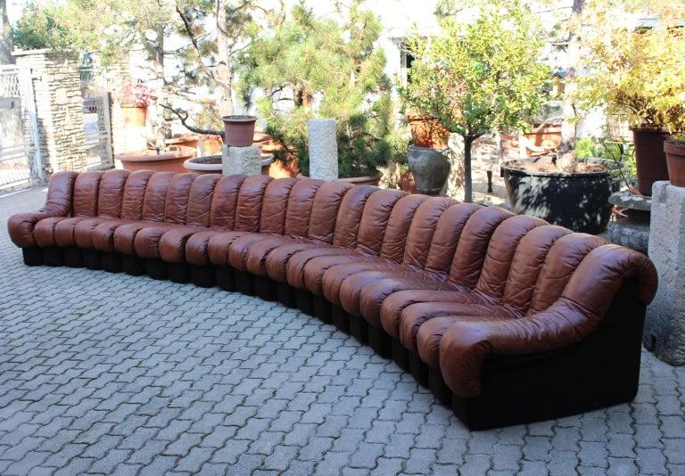 De Sede DS-600 Non Stop Sofa Switzerland 1970s in Cognac Leather For Sale 6