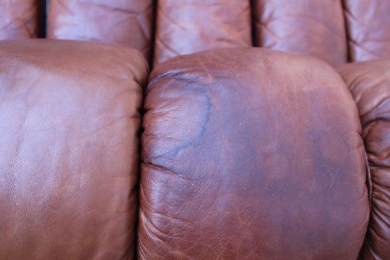 De Sede DS-600 Non Stop Sofa Switzerland 1970s in Cognac Leather For Sale 8