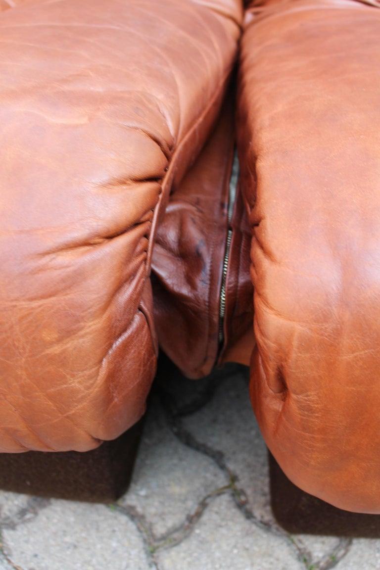 De Sede DS-600 Non Stop Sofa Switzerland 1970s in Cognac Leather For Sale 11