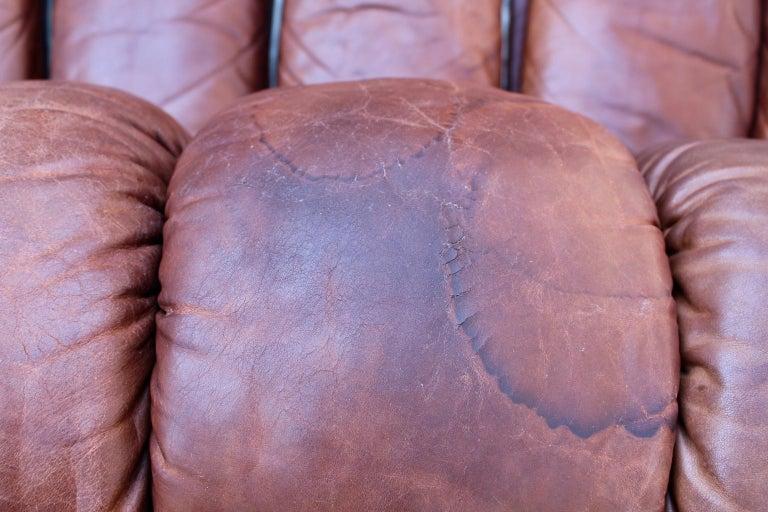 De Sede DS-600 Non Stop Sofa Switzerland 1970s in Cognac Leather For Sale 12