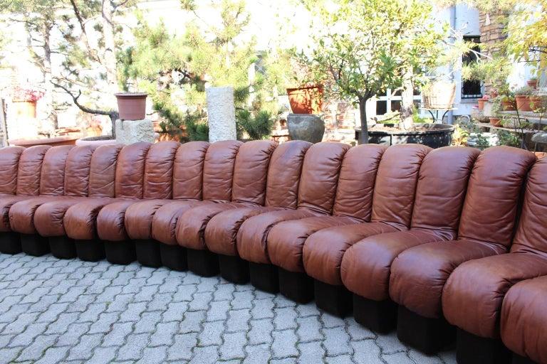 Mid-Century Modern De Sede DS-600 Non Stop Sofa Switzerland 1970s in Cognac Leather For Sale
