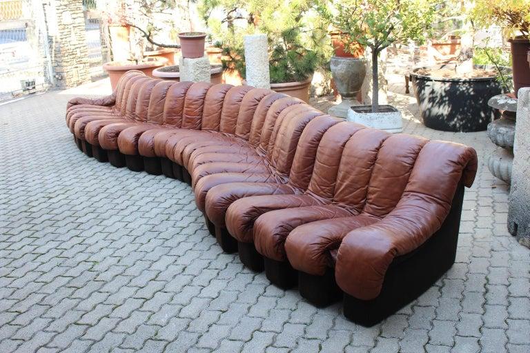 Swiss De Sede DS-600 Non Stop Sofa Switzerland 1970s in Cognac Leather For Sale