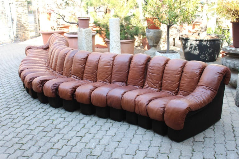 De Sede DS-600 Non Stop Sofa Switzerland 1970s in Cognac Leather In Good Condition For Sale In Vienna, AT