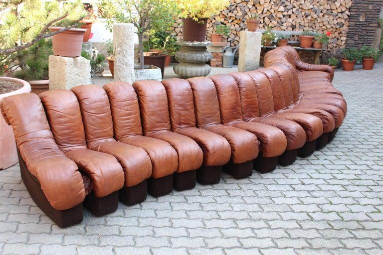 Late 20th Century De Sede DS-600 Non Stop Sofa Switzerland 1970s in Cognac Leather For Sale