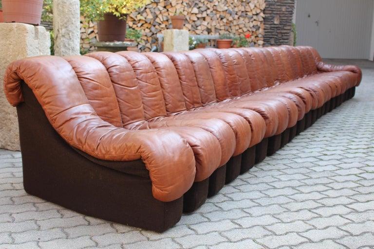 De Sede DS-600 Non Stop Sofa Switzerland 1970s in Cognac Leather For Sale 2