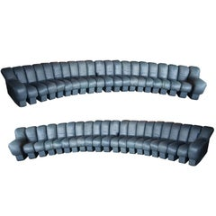De Sede DS-600, Non-Stop Sofas, Pair, 42 Sections in Charcoal Blue Leather