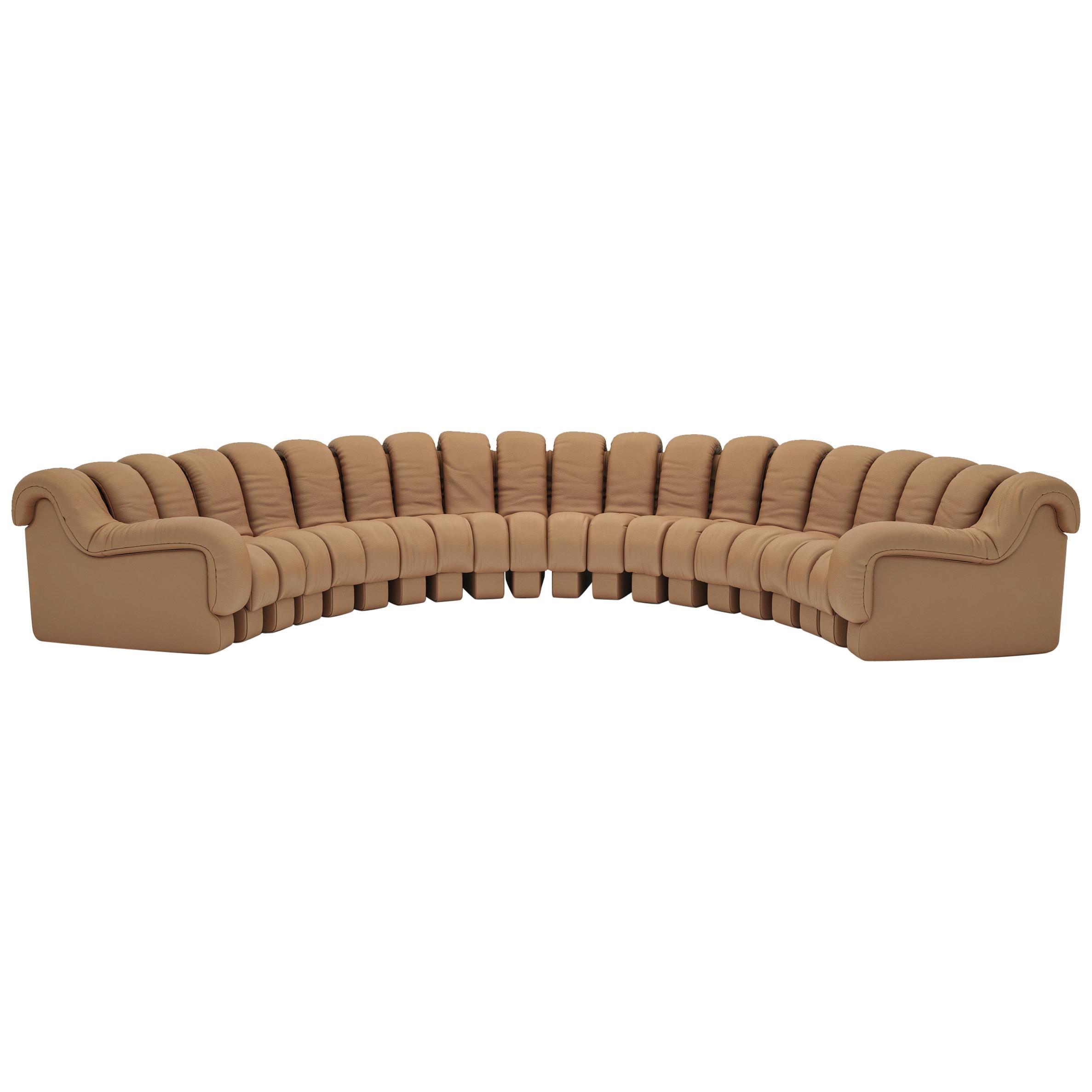 De Sede DS-600 Snake-Shape Modular Sofa in Nougat Leather & Adjustable Elements