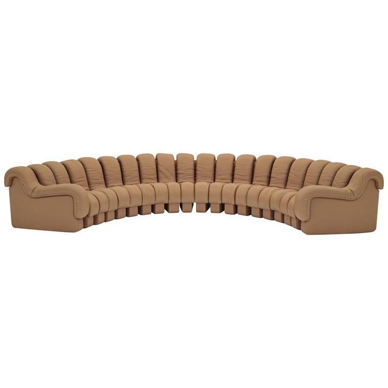 De Sede DS-600 Snake-Shape Modular Sofa in Nougat Leather & Adjustable Elements For Sale
