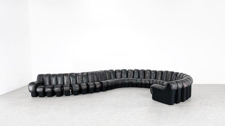 De Sede DS 600 Snake Sofa by Ueli Berger, 1972 Black & Brown Leather 36 Elemens For Sale 5