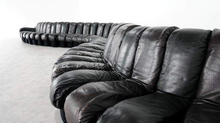 De Sede DS 600 Snake Sofa by Ueli Berger, 1972 Black & Brown Leather 36 Elemens For Sale 6