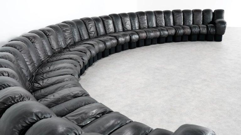 De Sede DS 600 Snake Sofa by Ueli Berger, 1972 Black & Brown Leather 36 Elemens For Sale 9