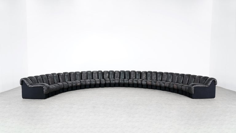 De Sede DS 600 Snake Sofa by Ueli Berger, 1972 Black & Brown Leather 36 Elemens For Sale 10