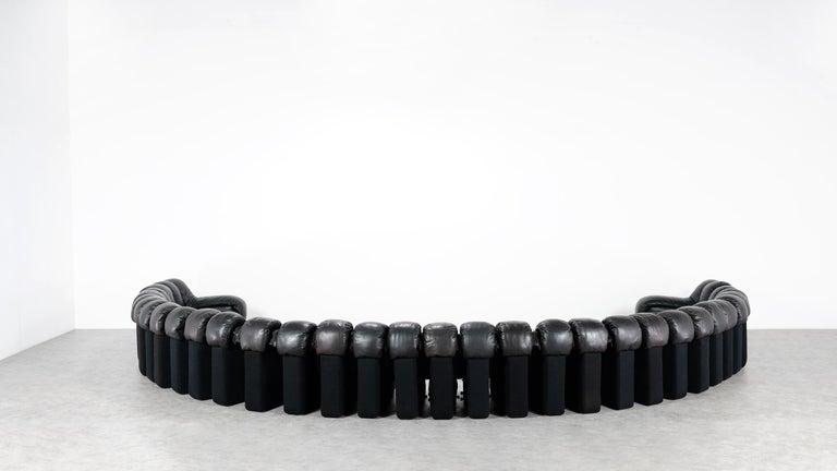 De Sede DS 600 Snake Sofa by Ueli Berger, 1972 Black & Brown Leather 36 Elemens For Sale 11
