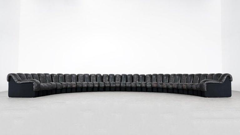 De Sede DS 600 Snake Sofa by Ueli Berger, 1972 Black & Brown Leather 36 Elemens For Sale 14