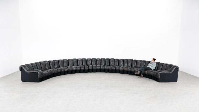 Mid-Century Modern De Sede DS 600 Snake Sofa by Ueli Berger, 1972 Black & Brown Leather 36 Elemens For Sale