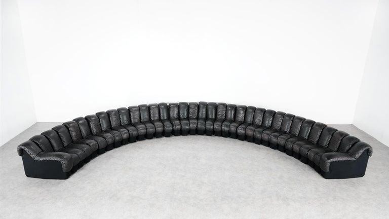 De Sede DS 600 Snake Sofa by Ueli Berger, 1972 Black & Brown Leather 36 Elemens For Sale 1