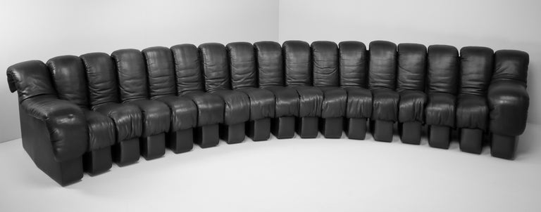 De Sede DS 600 Snake Sofas in Full Black Leather by Ueli Berger Switzerland 1972 For Sale 4