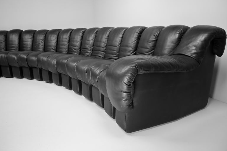 De Sede DS 600 Snake Sofas in Full Black Leather by Ueli Berger Switzerland 1972 For Sale 5