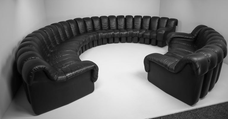 De Sede DS 600 Snake Sofas in Full Black Leather by Ueli Berger Switzerland 1972 For Sale 7