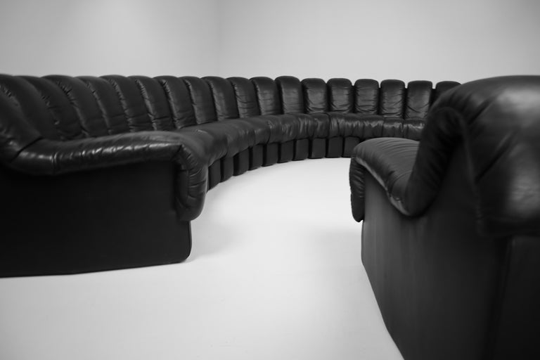 De Sede DS 600 Snake Sofas in Full Black Leather by Ueli Berger Switzerland 1972 For Sale 9