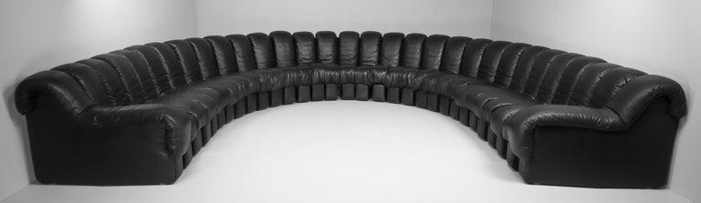 Set Mid-Century Modern Swiss De Sede DS600 full leather sectional