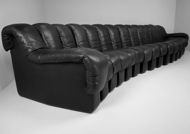 Late 20th Century De Sede DS 600 Snake Sofas in Full Black Leather by Ueli Berger Switzerland 1972 For Sale
