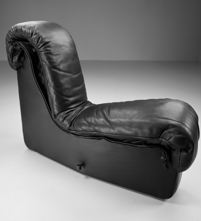 De Sede DS 600 Snake Sofas in Full Black Leather by Ueli Berger Switzerland 1972 For Sale 1