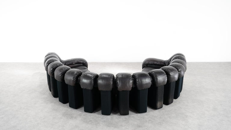 De Sede -DS 600 Sofa by Ueli Berger Riva 1972, Black Brown Leather 16 Elements For Sale 4